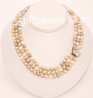 Multicolour triple stranded pearls - at an amazingly low price.